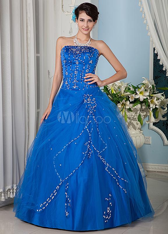 Royal Blue Beading Strapless Tulle Satin Prom Dress