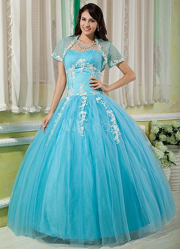 Light Sky Blue Ball Gown Sweetheart Neck Quinceanera Dress