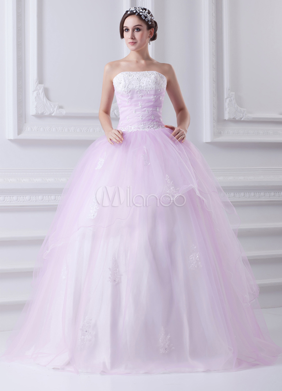 Sweet Pink Applique Satin Mesh Strapless Fashion Ball Gown