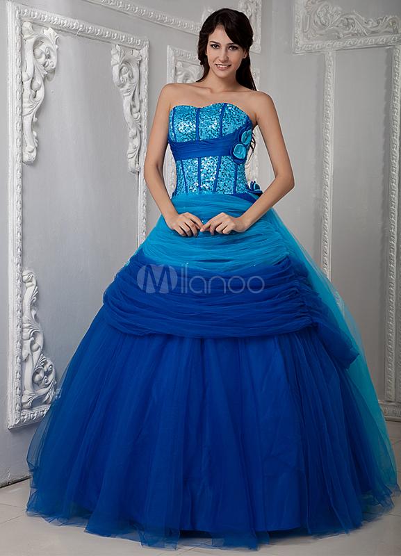 Unique Blue Sweetheart Satin Lace Quinceanera Dress