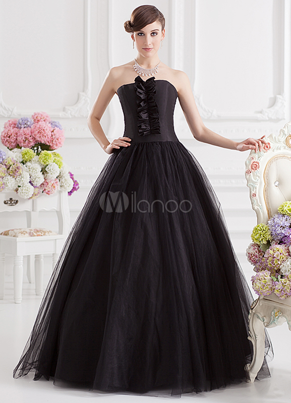 Vintage Black Floral Strapless Women's Ball Gown