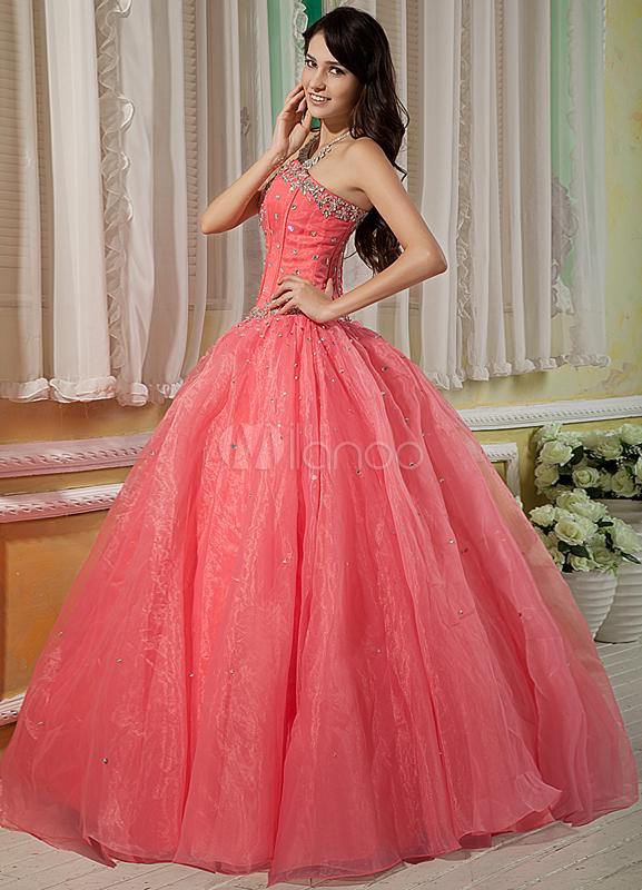 Watermelon Red Sweetheart Floor Length Organza Satin Prom Dress Milanoo Com