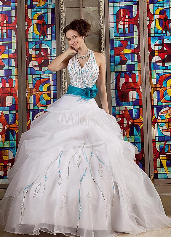 Sequin Halter Floor-Length White Satin Organza Ball Gown