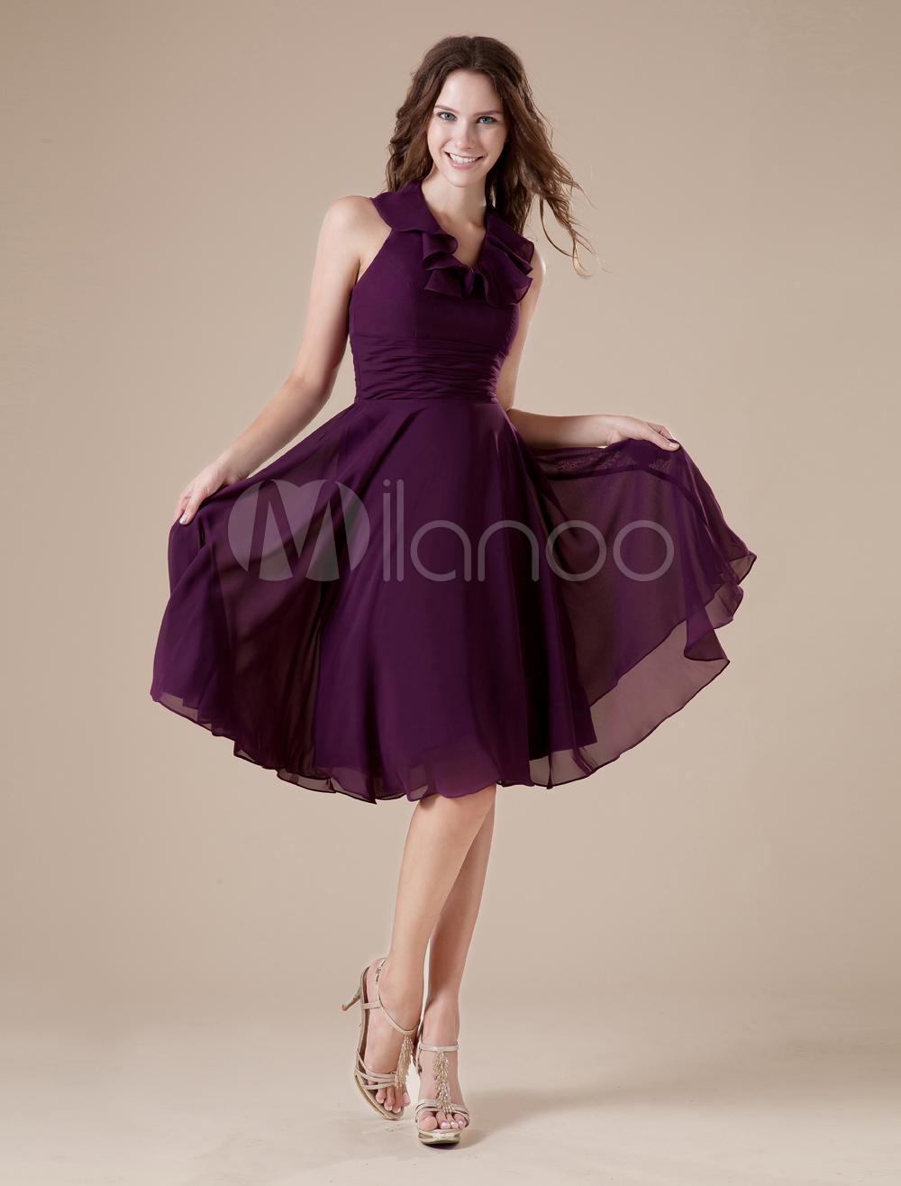 Feminine purple v neckline chiffon a line womens homecoming dress