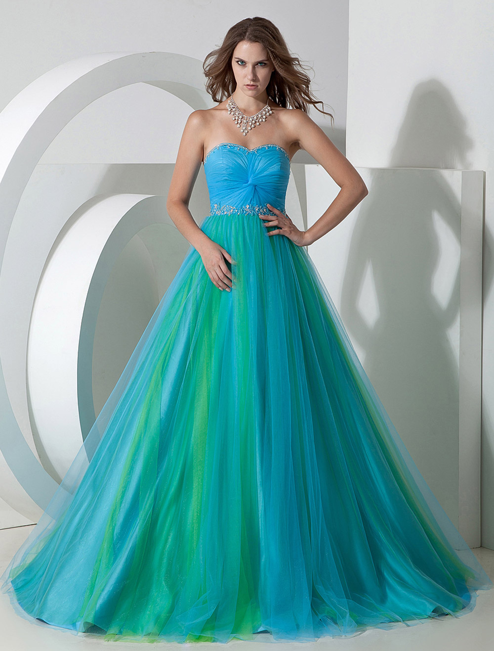 Two-Tone Prom Dress Twisted Ruched Lace Up Tulle Satin Dress ...