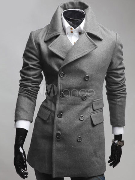 Modern Cotton Blend Men's Pea Coat - Milanoo.com