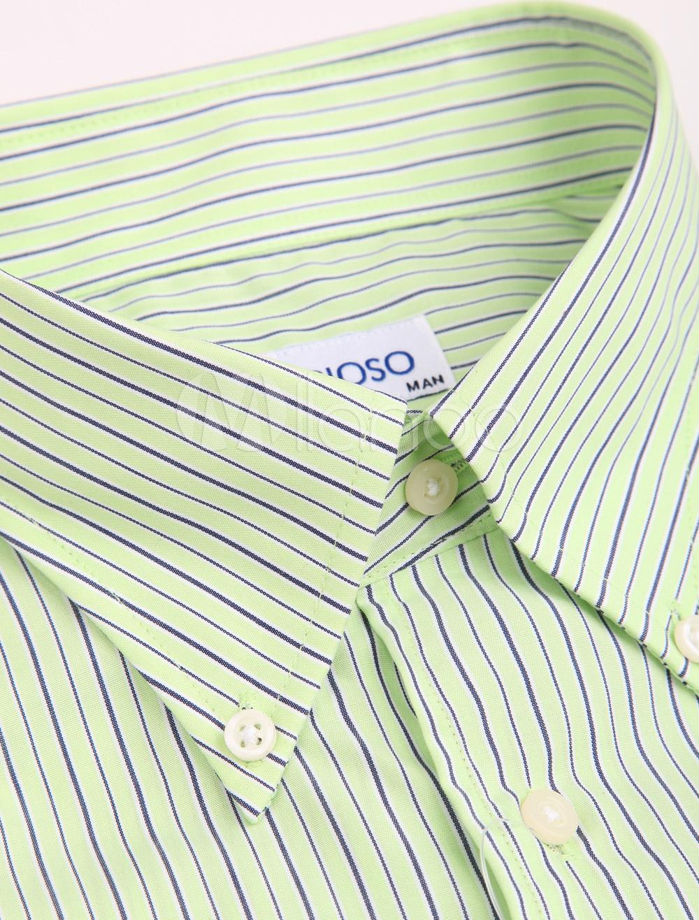 Brioso green striped casual long sleeves 100 cotton mens shirt