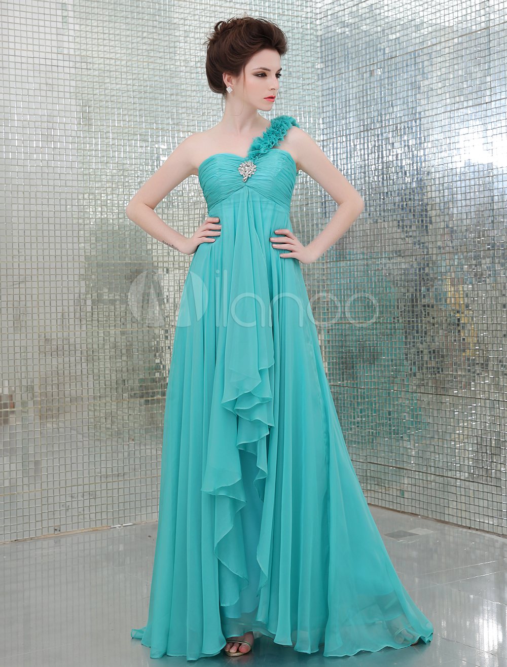 Blue One-Shoulder Elastic Silk Like Satin A-line Bridesmaid Dress