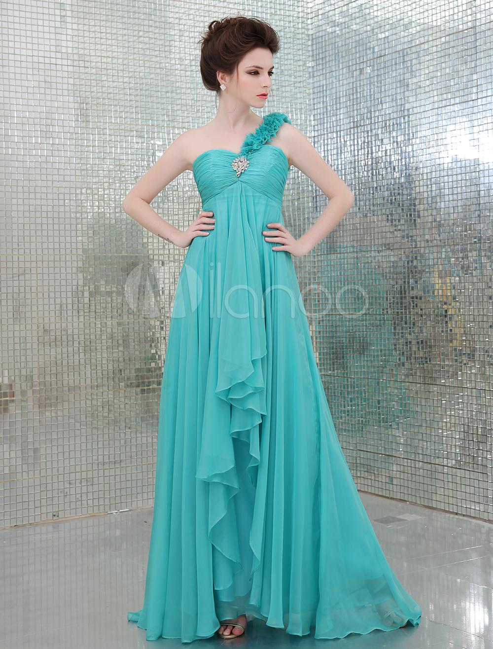 8df885b20a5 Blue One-Shoulder Elastic Silk Like Satin A-line Bridesmaid Dress (Wedding  Evening