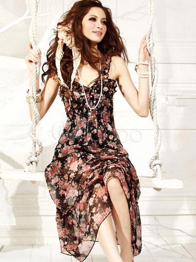 Chiffon print maxi dresses