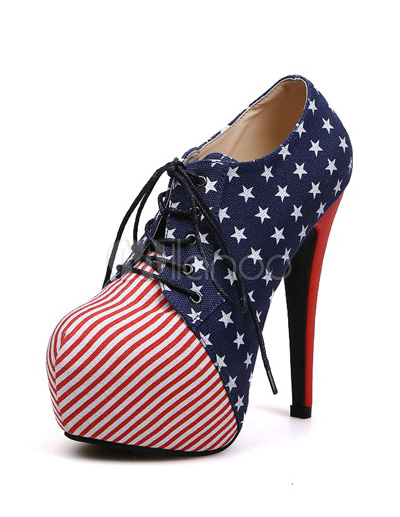 Blue round toe flag stiletto heel cloth womans high heel booties
