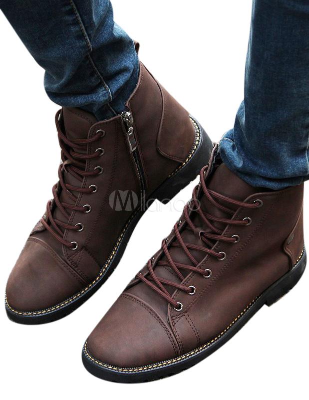 boots pratiques homme en faux cuir avec lacet. Black Bedroom Furniture Sets. Home Design Ideas
