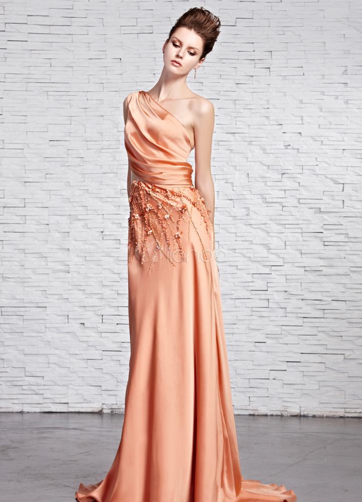 Fashion Orange A-line One-Shoulder Beading Silk Prom Dress