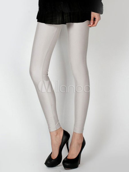White 70% Elastic Cotton 30% Spandex Leggings For Women - Milanoo.com