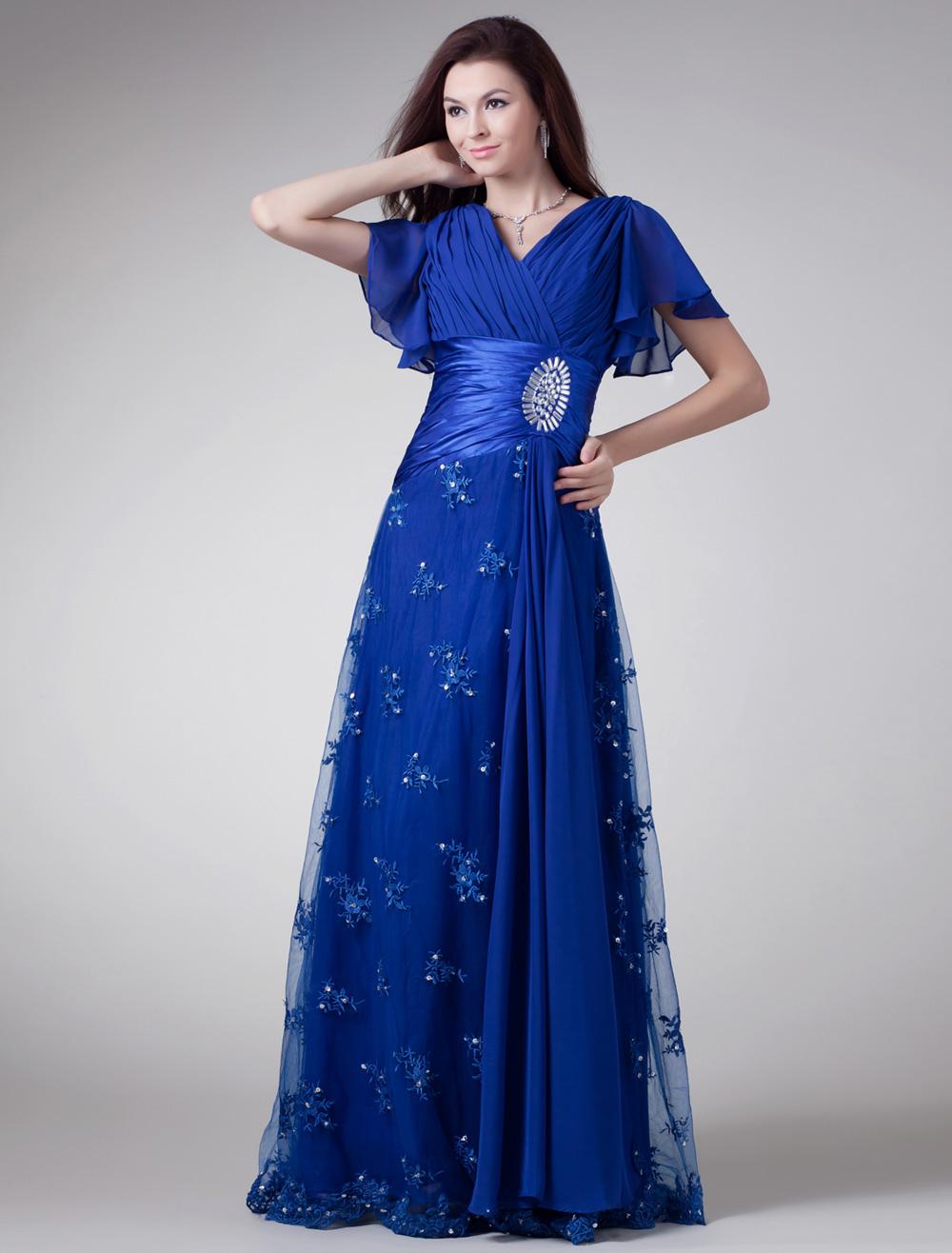 Royal Blue Chiffon Rhinestone V-Neck Evening Dress (Wedding) photo