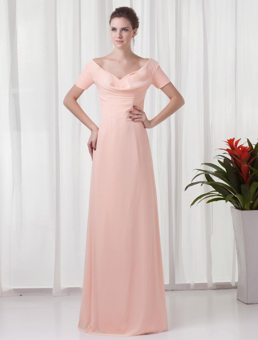 Chiffon Mother Of The Bride Dress Peach Short Sleeve Evening Dress V Back Floor Length Occasion Dress (Wedding) photo