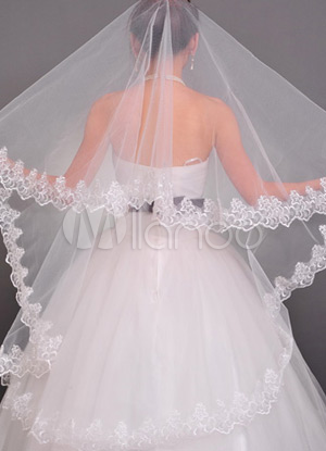 Gorgeous Ivory Yarn Long Wedding Bridal Veil