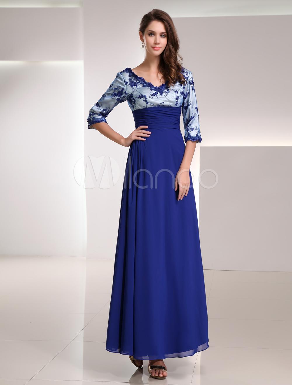 Royal Blue Chiffon Lace V-neck Half Sleeve Mother of the Bride Dress $136.46 AT vintagedancer.com
