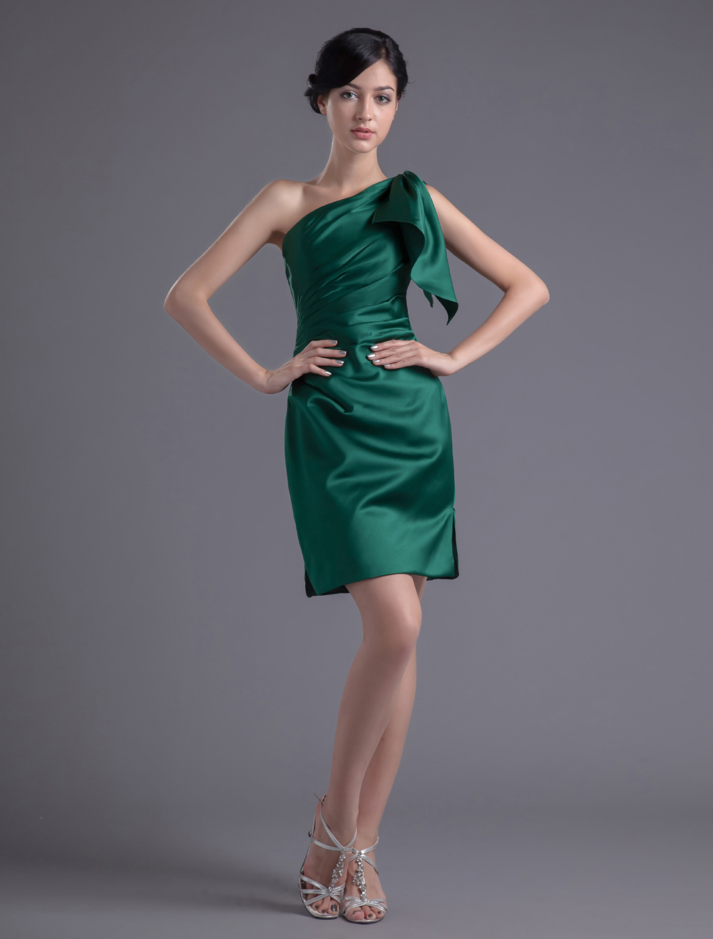 Short one shoulder sheath ruched satin dark green for Short green wedding dresses