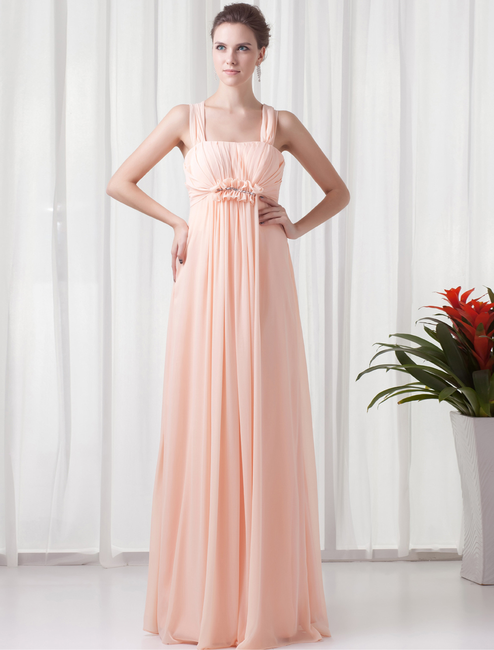 Chiffon Bridesmaid Dress Peach Sleeveless Empire Waist Prom Dress Pleated Ruched Floor Length Wedding Party Dress