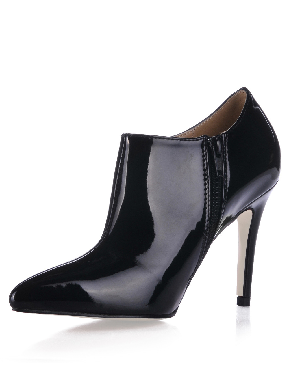 Black Pointed Toe Patent Leather Womens High Heel Booties