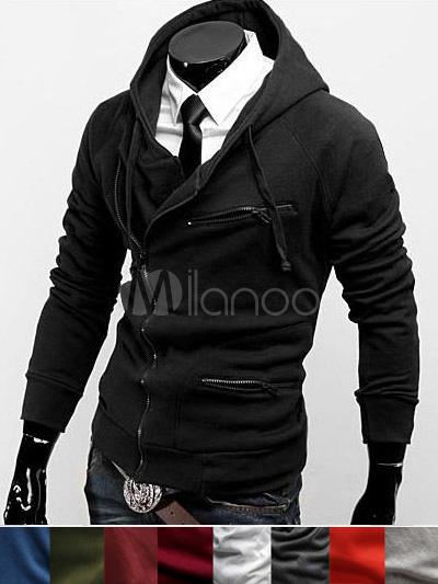 Men Sweatshirt Black Cotton Hoodie Long Sleeve Full Zip Hoodie