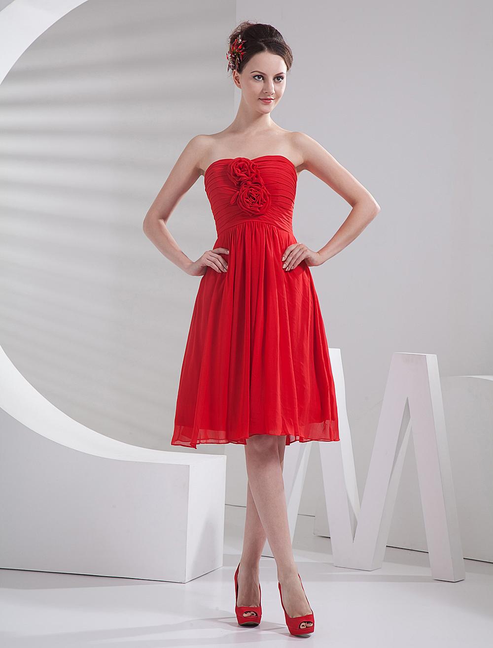 Red Chiffon Knee Length Flower Strapless Bridesmaid Dress
