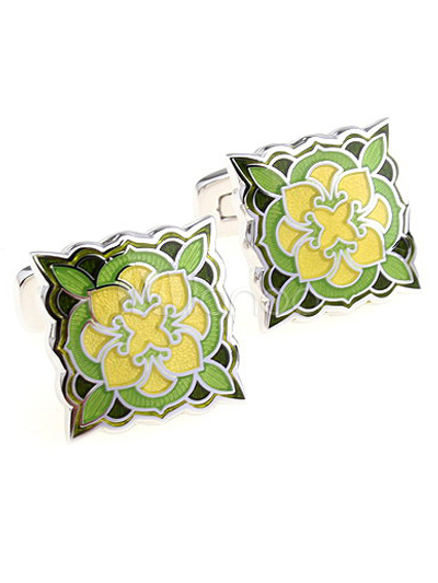 Vintage Green Victorian Style Flower Square Shape Cufflinks thumbnail