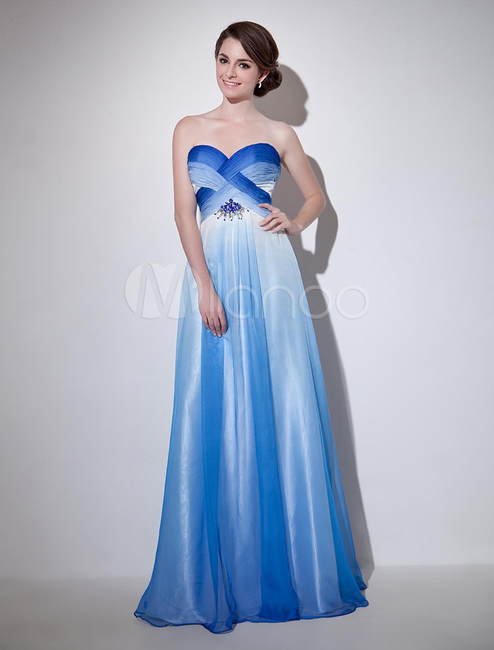 Royal Blue Sweetheart Neck Beading A-line Chiffon Evening Dress Milanoo (Wedding Evening Dresses) photo