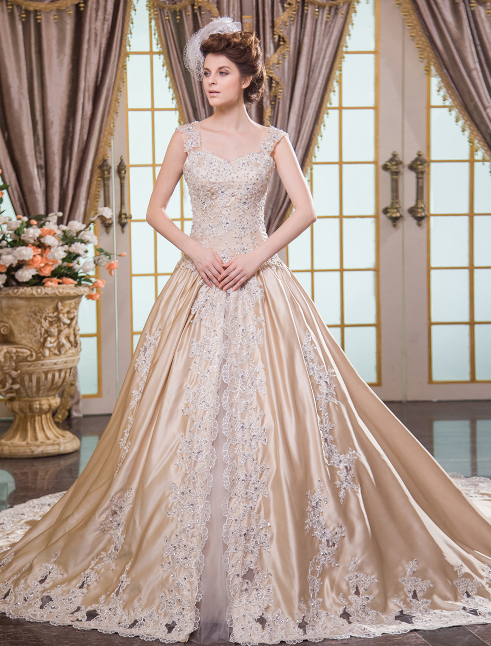 Champagne Ball Gown Lace-up Bridal Wedding Dress Milanoo