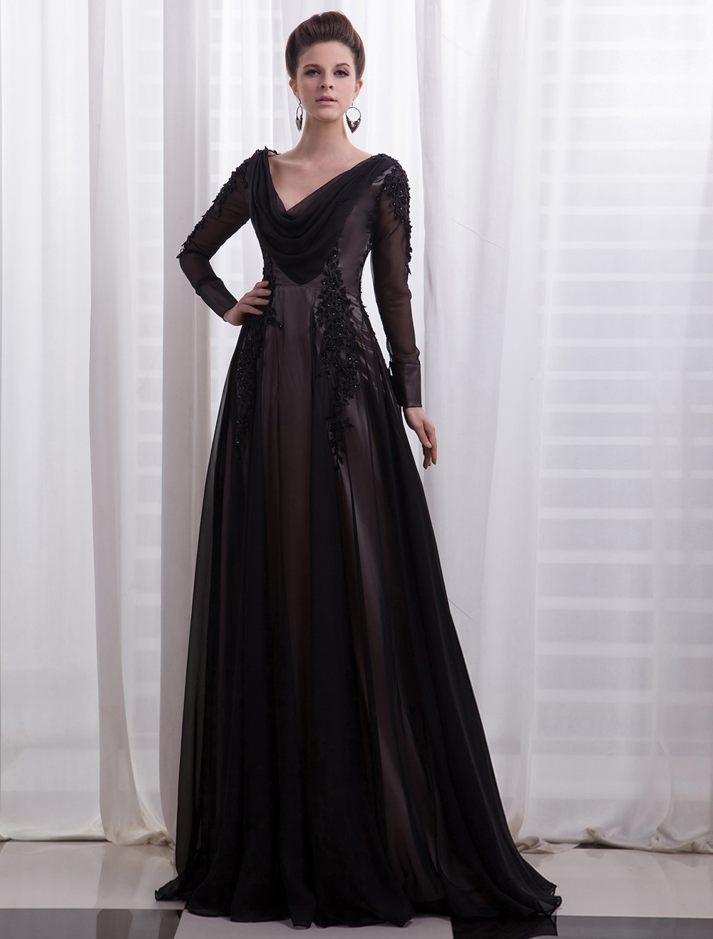 Black Evening Dress Deep-V Sequins Mesh Chiffon Prom Dress Milanoo