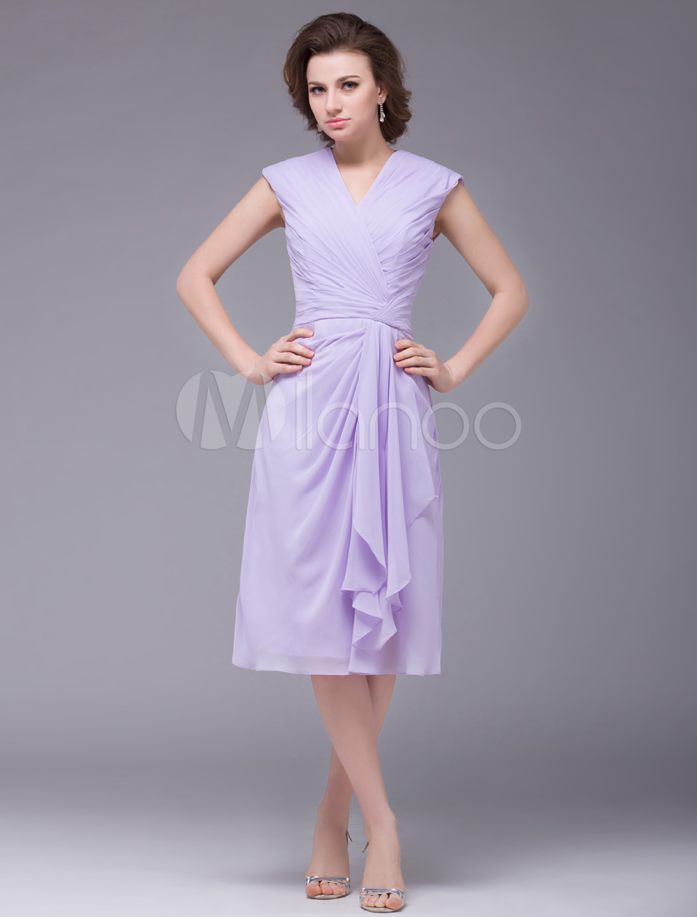 Light Purple V-Neck Ruched Chiffon Mother of the Bride Dress Wedding Guest Dress
