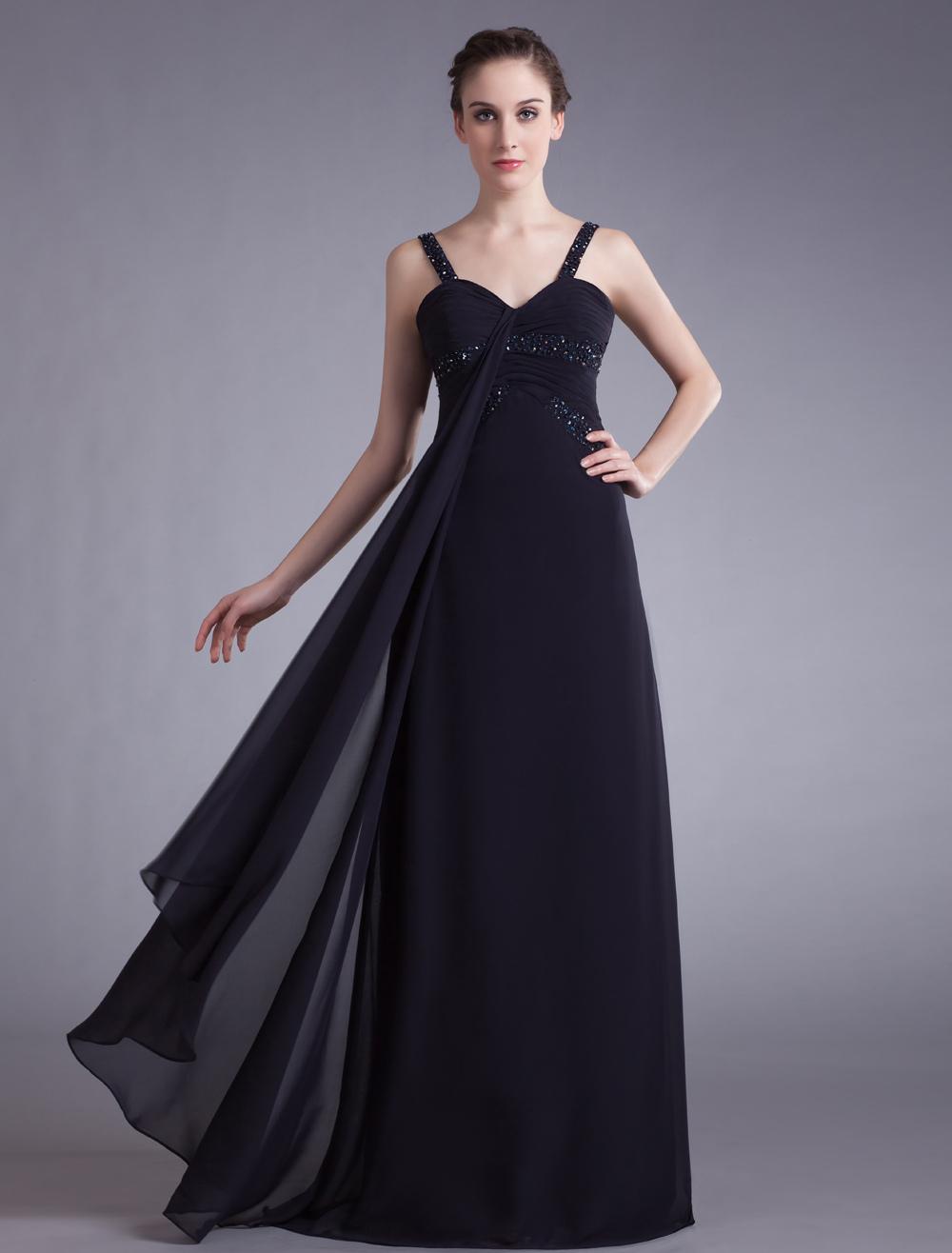 Navy Blue Long Evening Dress with Beads - Milanoo.com