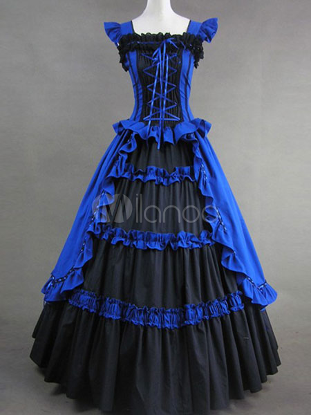 Gothic Lolita Renaissance Blue Long Dress $126.99 AT vintagedancer.com