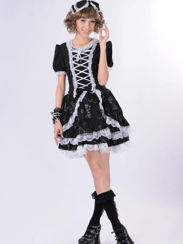 Black White Cotton Blend Multi-Layer Short Sleeve Lolita Dress