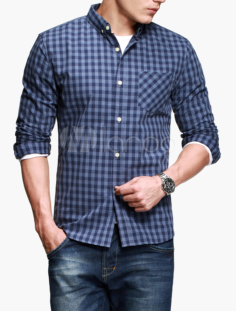Blue button pockets long sleeves plaid casual shirt for for Mens casual plaid shirts