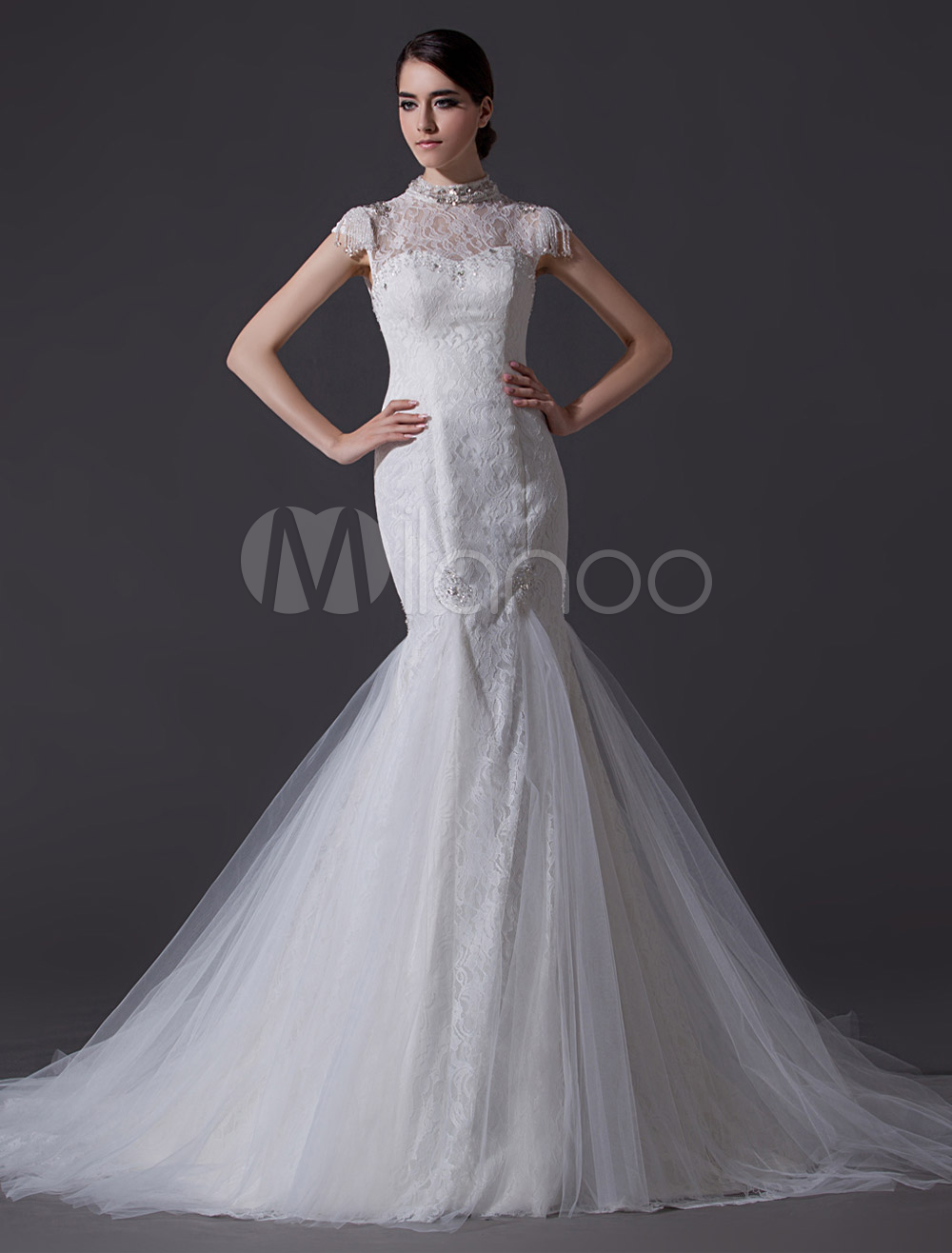 Noble ivory high collar illusion neck mermaid wedding for High collared wedding dress