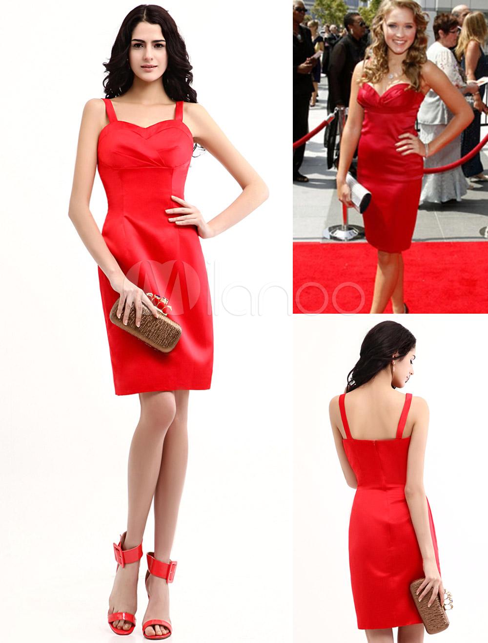 Pretty Red Satin Sweetheart Knee Length Oscar Dress Wedding Guest Dress (Cheap Party Dress) photo