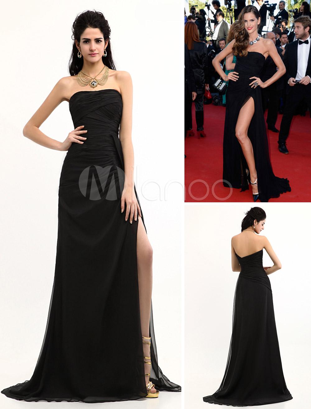 Black Split Front Chiffon Cannes Film Evening Dress (Wedding) photo