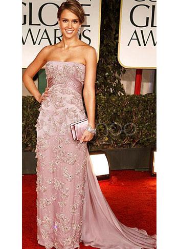 Sheath Celebrity Dress Fuchsia Pink Applique Silk Like Strapless Red Carpet Dress (Wedding Golden Globe Dresses) photo