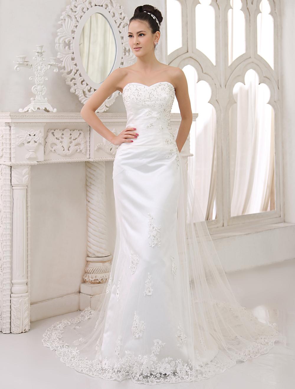 Sweep Train Wedding Dress With Sheath Sweetheart Amp Applique