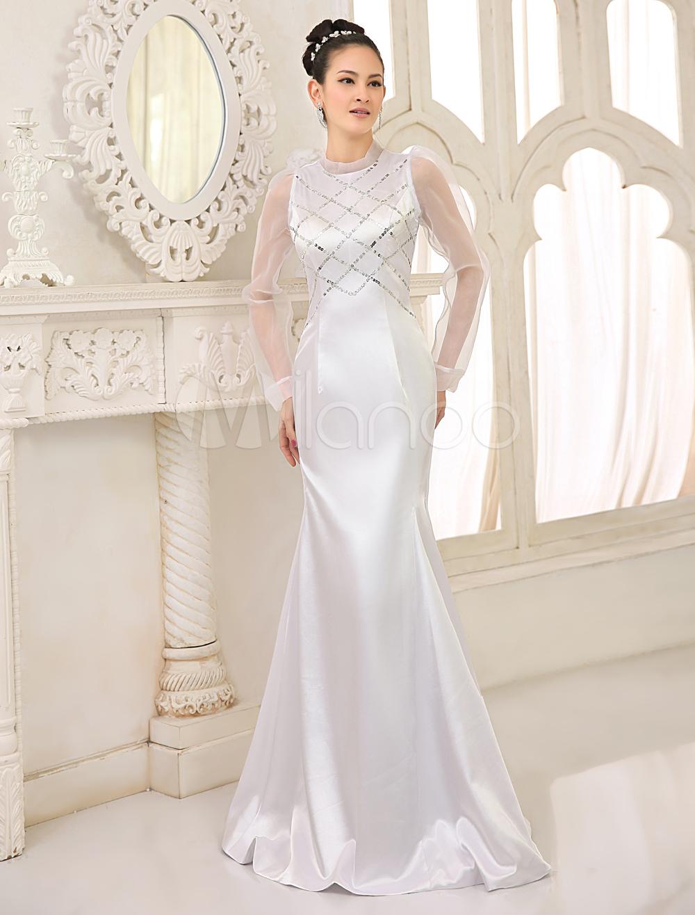 White Satin Sleeveless Ladies Evening Dress (Wedding Evening Dresses) photo