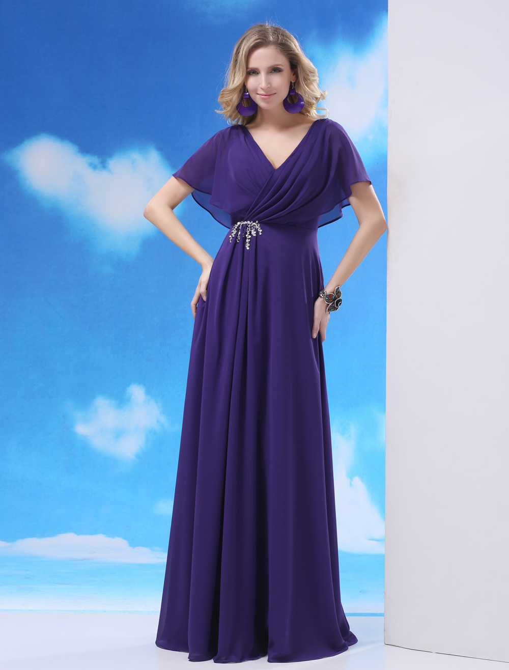 Sequin Backless Chiffon Mother of the Bride Shaping Dress with V-Neck $139.99 AT vintagedancer.com
