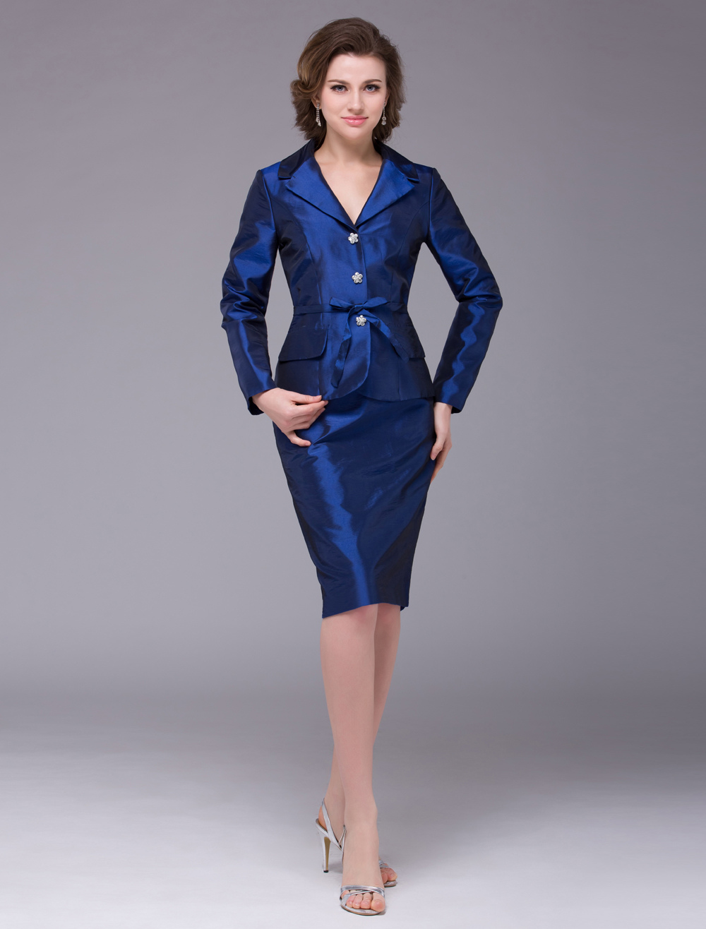 Royal Blue Sheath Taffeta Rhinestone Long Sleeves Bridal Mother Dress with V-Neck Wedding Guest Dress