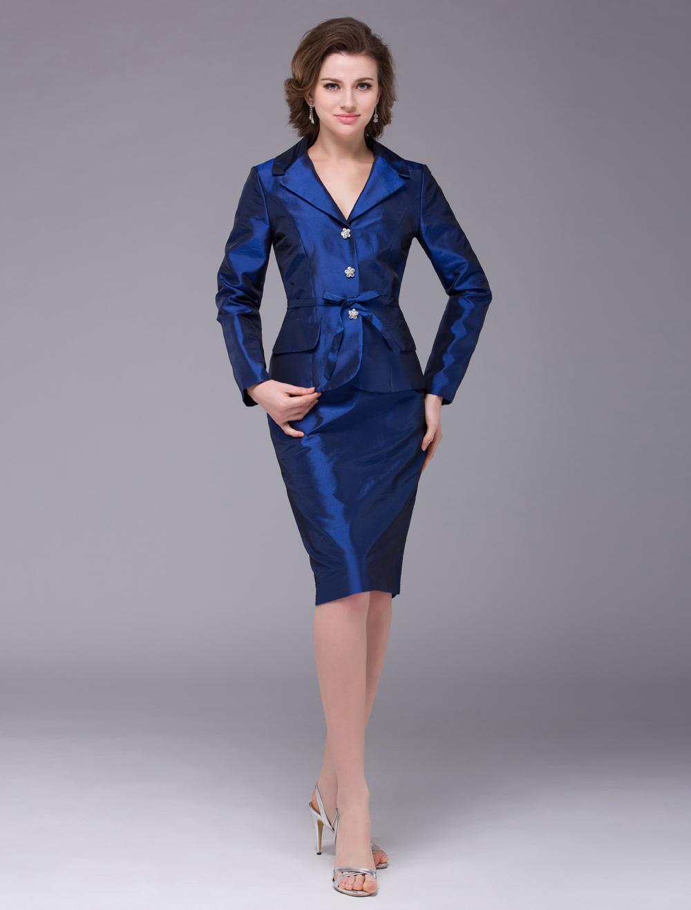 Royal Blue Sheath Taffeta Rhinestone Long Sleeves Bridal Mother Dress with V-Neck