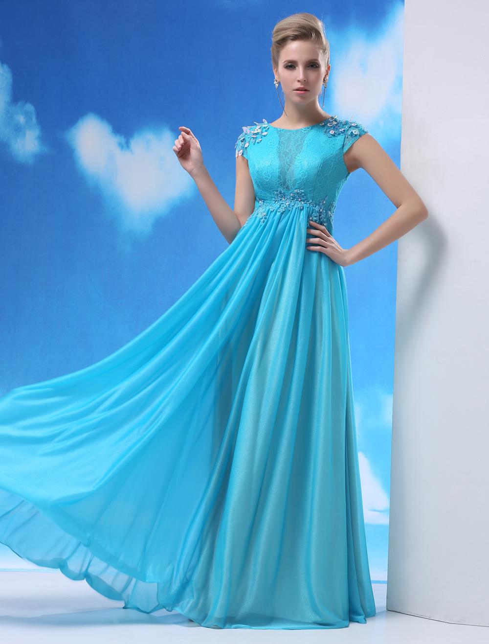 Aqua Evening Dress Shot Silk Beaded Prom Dress Jewel Neck Short Sleeves A Line Pleated Floor Length Party Dress Milanoo (Wedding Prom Dresses) photo