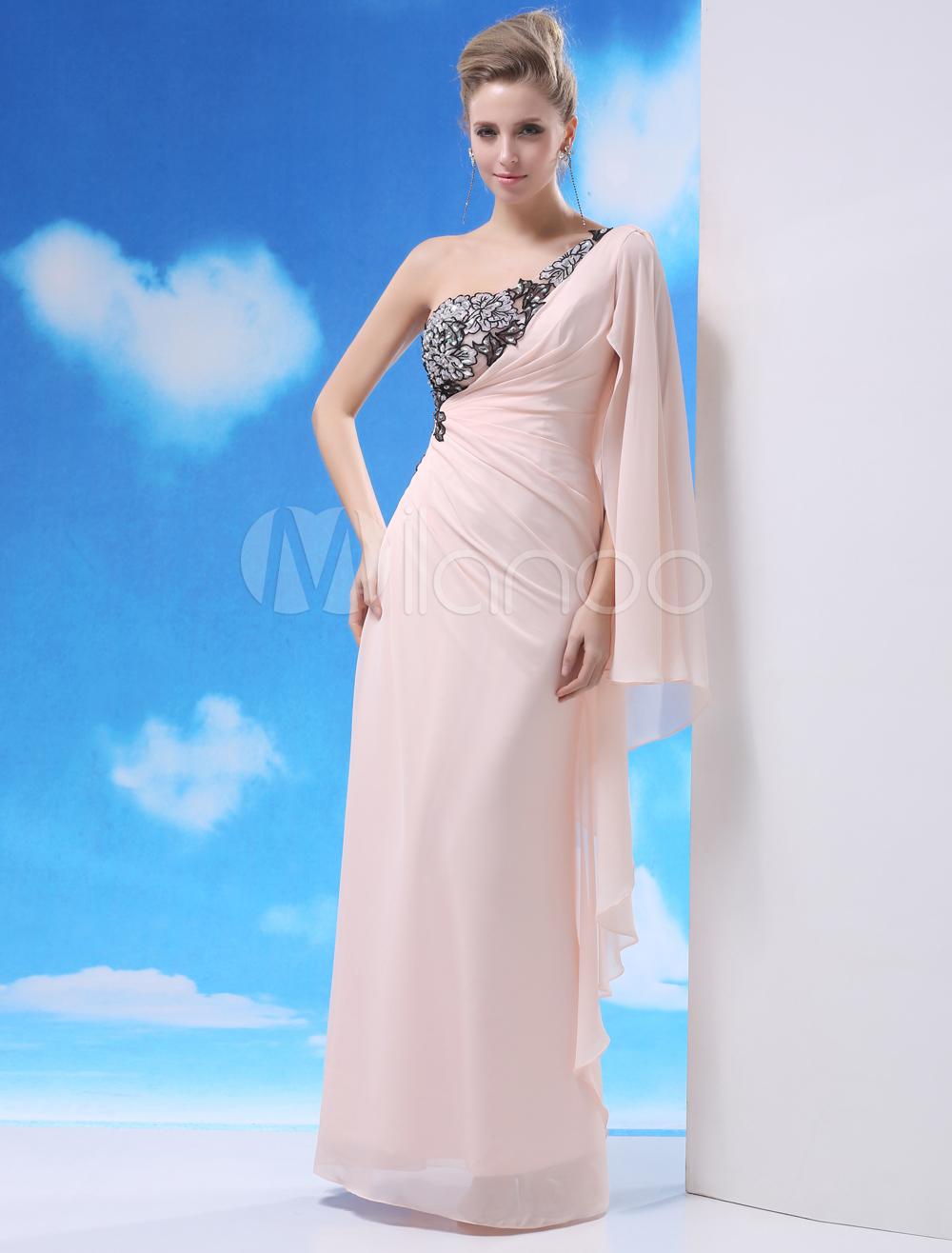 Pink One-Shoulder Beading Sheath Chiffon Charming Prom Dress Milanoo (Wedding Prom Dresses) photo