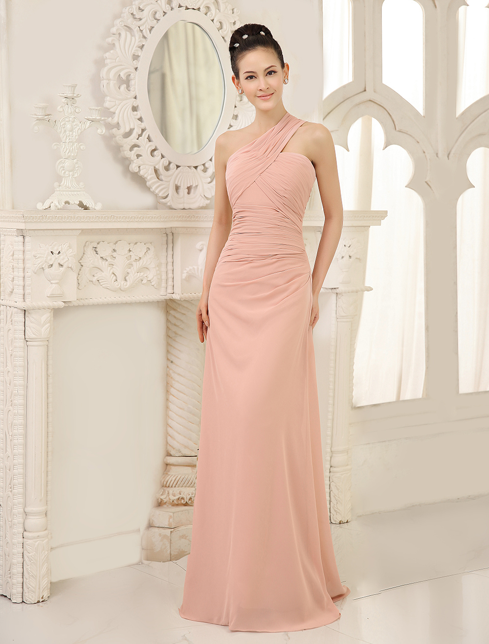 One Shoulder Bridesmaid Dresses Blush Pink Long Ruched Sleeveless Wedding Party Dress