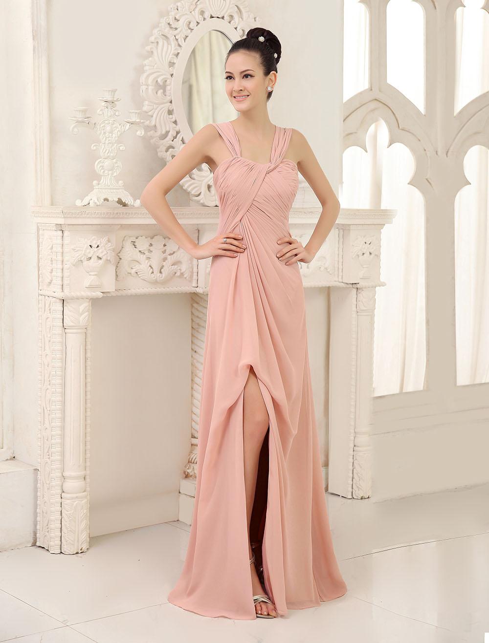 Blush Pink Bridesmaid Dress Long Sleeveless Chiffon Prom Dress High Split Pleated Straps Floor Length Wedding Party Dress (Bridesmaid Dresses) photo