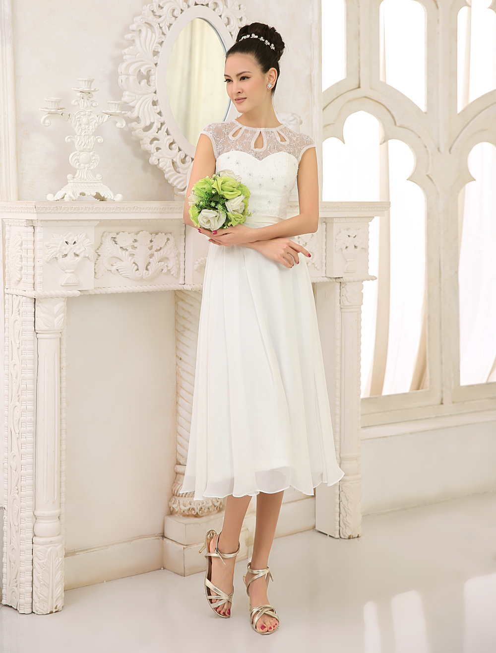 Ivory Lace Chiffon Beach Wedding Dress with Beaded Milanoo